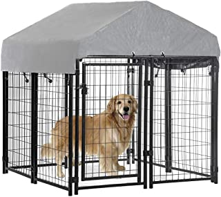 BestPet Dog Crate Pet Kennel Cage Puppy Playpen Wire Animal Metal Camping Indoor Outdoor Cage for Large Dogs with Roof, 4 x 4 x 4.3,7.5 x 3.75 x 5.8 Feet