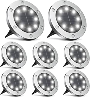 Infray Solar Ground Lights, Upgraded 8 LED Solar Disk Lights Outdoor IP65 Waterproof Garden Light, Solar In-Ground Light C...