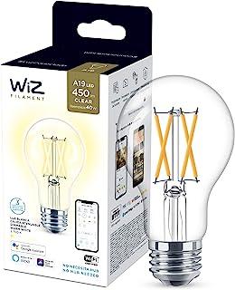 WiZ Foco A19 acabado claro luz cálida dimeable controlable por WiFi - Compatible con Alexa