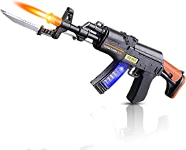 ArtCreativity Light Up Toy Machine Gun with Folding Bayonet, Cool LED, Sound and Vibration Effect, 16 Inch Pretend Play Military Submachine Pistol, Batteries Included, Great Gift for Boys and Girls