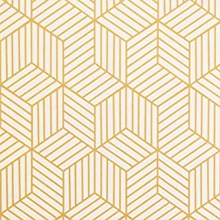 "Gold and Beige Geometry Stripped Hexagon Peel and Stick Wallpaper Gold Stripes Wallpaper Luxury Contact Paper Removable Self Adhesive Vinyl Film Decorative Shelf Drawer Liner Roll 78.7""x17.7"""
