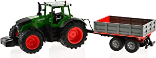 Remote Controlled Tractor with Detachable Trailer That can be Raised and Lowered from The Remote. Die-Cast Tractor Model Kids Electronics Hobby Toy with Sound and Lights.
