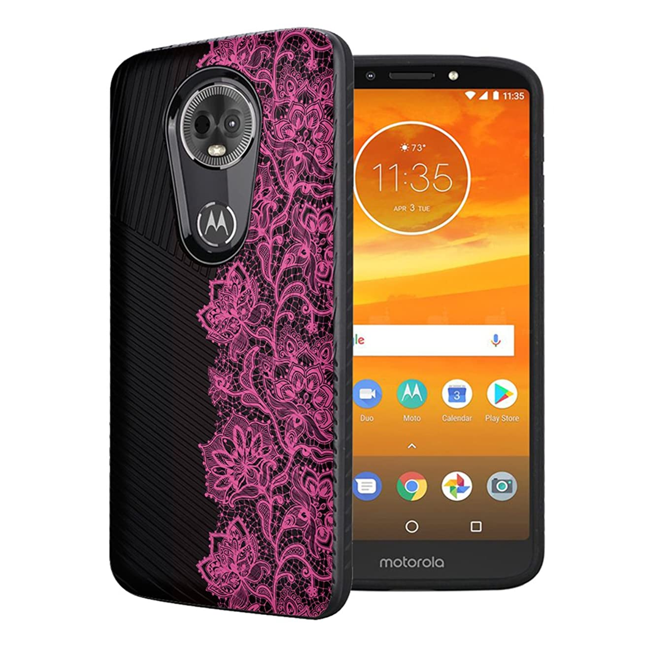 Moriko Case Compatible with Moto G7 Power, Moto G7 Supra [Embossed Diagonal Lines Hybrid Slim Armor Black Case] for Motorola Moto G7 Power - (Pink Lace)