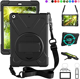 ZenRich New iPad 9.7 2017 2018 Case,360 Degree Rotatable with Kickstand,Hand Strap and Shoulder Strap case, zenrich 3 Laye...