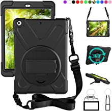 ZenRich New iPad 9.7 2017 2018 Case,360 Degree Rotatable with Kickstand,Hand Strap and Shoulder Strap case, 3 Layer Hybrid Heavy Duty Shockproof case for iPad 9.7 5th/6th Generation (Black)