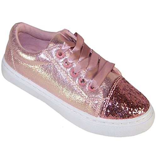 b9cdce9413a0 The Sparkle Club Girls Children Kids Pink Glitter Sparkly Trainers Pumps  Skate Shoes