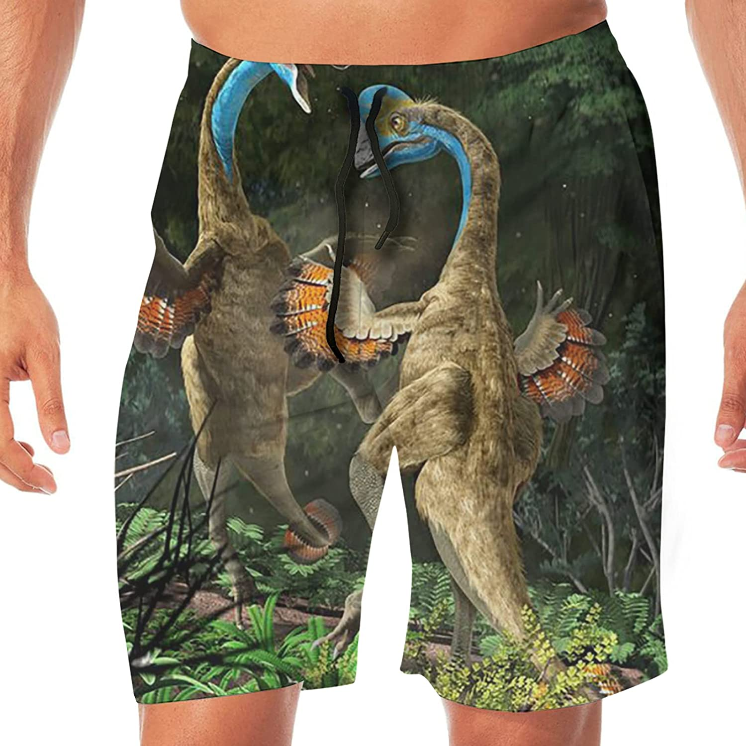 PEKIVIDE Men's Forest Feathered Dinosaurs Peacock Battle Swim Trunks Quick Dry Board Shorts Swim with Pockets Beach Bathing Suits