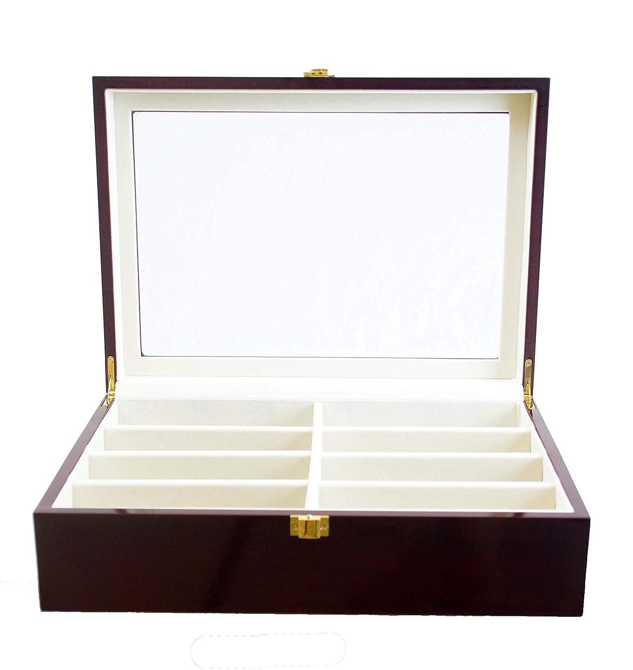 Roomganize Luxury Eight-Compartment Sunglasses Organizer and Jewelry Case (Cherry)