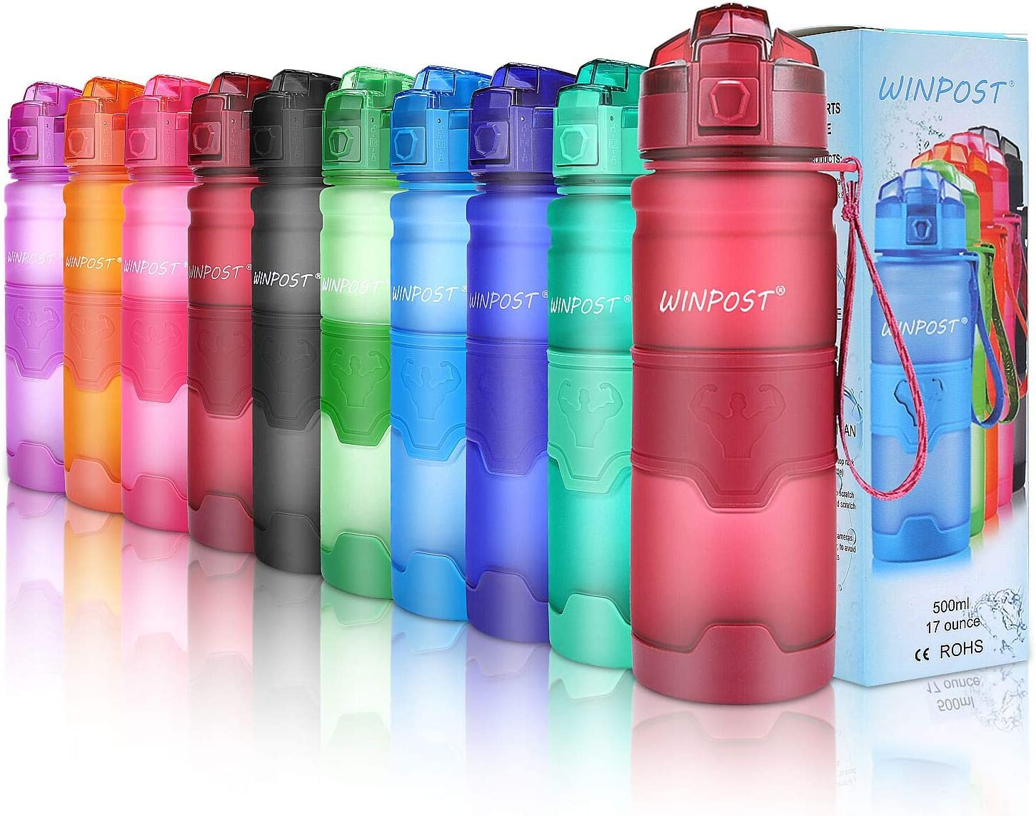 Botella de agua deportiva, 500ml & 700ml y 1000ml-BPA Botella ecológica de plástico Tritan con filtro, tapa abatible, se abre con 1 clic, reutilizable con tapa a prueba de fugas para acampar, corr