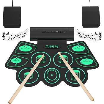 Batterie Électronique Drum Set, 9 Pads Batterie Électrique, Enceinte et Batterie Intégré, Baguettes en Bois et Pédales, Roll Up Tambour pour Enfant Adulte Noël Anniversaire Tikitaka