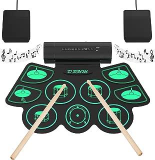 Portátil Electrónico Rollo Up Tambor Juego de Pastillas 9 Almohadillas de Silicona Altavoces Incorporados con los Palillos Pedales - Uverbon