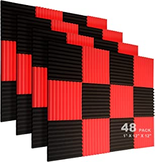 "JBER 48 Pack Acoustic Foam Panels, 1"" X 12"" X 12"" Studio Soundproofing Wedges Fire Resistant Sound Proof Padding Acoustic Treatment Foam - Black & Red"