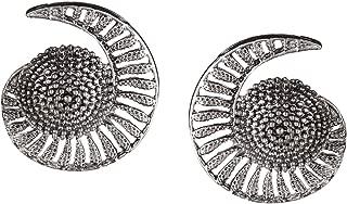 Boho Vintage Antique Ethnic Gypsy Tribal Indian Oxidized Silver Big Stud Earrings Jewelry