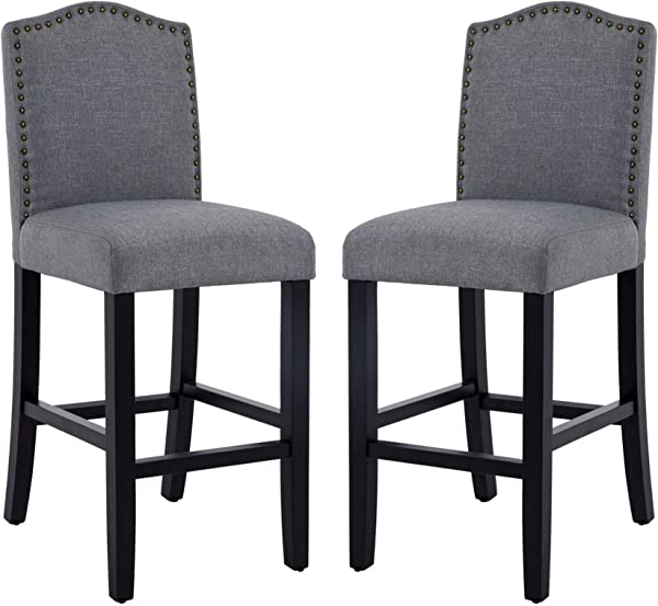 DAGONHIL 24 Inches Counter Height Bar Chairs With Bronze Nail Gray Set Of 2