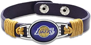 "GameWear Los Angeles Lakers Leather Bracelet with Snap Closure 7"" to 9"""