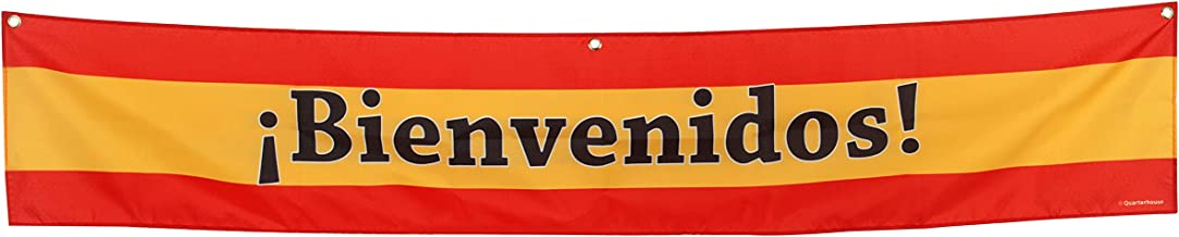 Bienvenidos Welcome Banner for Spanish Classrooms, Businesses, Special Events - Spanish Flag (Yellow & Red) Background - Polyester, 10 x 60 Inches
