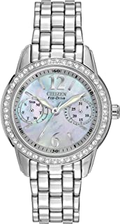 Eco-Drive Classic Quartz Womens Watch, Stainless Steel, Crystal, Silver-Tone (Model: FD1030-56Y)