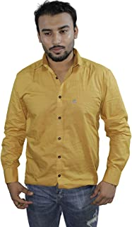 Spanish One Look Mens Casual Long Sleeve 100% Cotton Regular Fit Button Down Casual Shirts Dress in Yellow Plain Shirt for Men