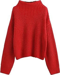 Women's Drop Shoulder Funnel High Neck Ribbed Knit Pullover Jumper Sweater