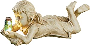 Collections Etc Children with Solar Powered Fireflies Garden Statues - Intricate Details - Choose Boy, Girl - Fireflies Automatically Shine at Night - Resin