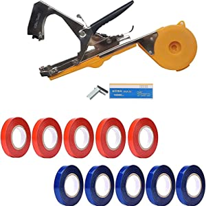 GZHaiTuoSi Plant Tying Machine Tapener Tool Garden Plant Tape Tool for Grapes, Raspberries, Tomatoes and Vining Vegetables, Comes with Tapes, Staples(Orange)