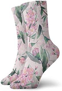 18手描きの桜桜_1805 絵画アートプリント面白いノベルティ動物カジュアルコットンクルーソックス11.8インチ
