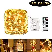 أضواء خيط مجوّفة مع جهاز تحكم عن بعد، 100 مصباح LED سلك نحاسي، مصباح إضاءة تعمل بالبطارية ومضادة للماء لتزيين المنزل، غرفة النوم، ستارة النافذة (أبيض داكن)