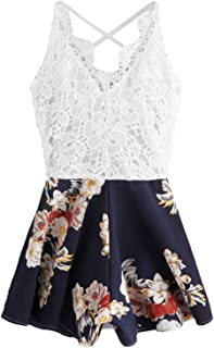 SheIn Women's Boho Crochet V Neck Halter Backless Floral Lace Romper Jumpsuit