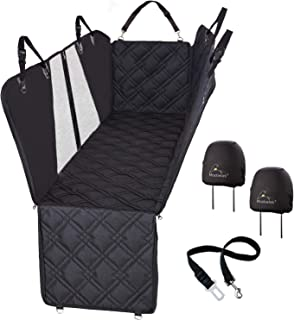 Meadowlark Dog Seat Covers Premium Unique Mesh Design & Entire Car Protection-Doors,Headrests & Backseat. Zippered Side Flap, Waterproof Pet Seat Cover + Seat Belt & 2 Headrest Protectors as a Gift