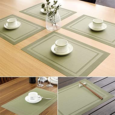 IHUIXINHE Placemats, Placemats for Dining Table Set of 4, Heat-Resistant Washable PVC Table Mats Durable Woven Vinyl Kitchen
