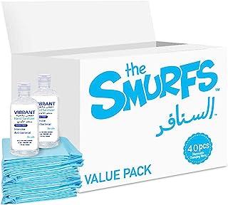 Smurfs Disposable Changing Mats (40 PCS)/Sanitizer 100ml, Pack of 2, VG-SB-DCM40-100mlx2