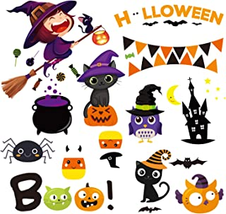 MISS FANTASY 47pcs Halloween Decorations Window Clings Decor, Cute Pumpkin Ghost Trick or Treat Kids School Home Office Accessories Party Supplies Gifts 4 Sheet…