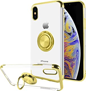 Ownest Compatible with iPhone Xs Case (2018)/iPhone X Case (2017) with Built-in 360 Rotatable Ring Kickstand Fit Magnetic Car Mount and Clear Slim TPU Protective for iPhone Xs/iPhone X-(Gold-2)