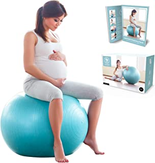 BABYGO Birthing Ball Pregnancy Maternity Labor & Yoga Ball + Our 100 Page Pregnancy Book, Exercise, Birth & Recovery Plan, Anti-Burst Eco Friendly Material 65cm 75cm Includes Pump
