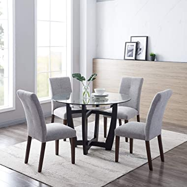"""PADMA HOUSE 48"""" Inch Round Glass Top Dining Table with Solid Wood Base,1/2 Thick Tempered Glass,30.5 Height"""