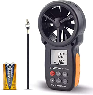 BTMETER BT-100 Handheld Anemometer Digital Wind Speed Meter Gauge for HVAC CFM Tester Air..