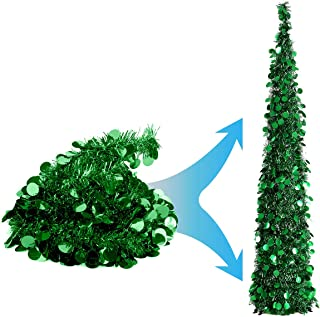 Joy&Leo 5 Foot Green Sequin Pop Up Tinsel Christmas Tree, Easy to Assemble and Store, for Small Spaces Apartment Fireplace Party Home Office Store Classroom Xmas Decorations