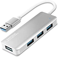 RSHTECH USB 3.0 Hub 4-Port Ultra Slim Aluminum Data Hub Portable USB Splitter (Silver)