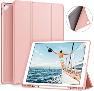 ZtotopCase Case for iPad Pro 12.9 inch 2017/2015 with Pencil Holder- Lightweight Soft TPU Back Cover and Trifold Stand with Auto Sleep/Wake, Protective for iPad Pro 12.9 Inch(1St & 2ND Gen), Rose Gold