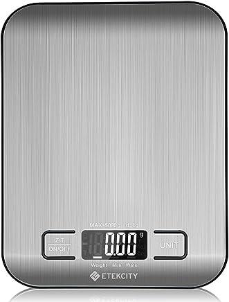 Etekcity Báscula Digital para Cocina de Acero Inoxidable, 5kg/11 lbs, Balanza de Alimento Multifuncional, Peso de Cocina con LCD Retroiluminación, Plataforma Grande, Plata (Baterías Incluidas) EK6015