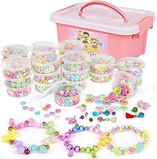 Sanlebi Enfants Bricolage Perles Set, 2000 Pièces Bracelet Perle pour Fabrication de Bracelets,Collier, Kit Fabrication Bi...