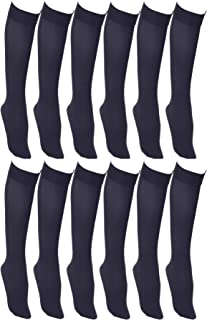 Women's Trouser Socks, 6 Pairs, Opaque Stretchy Nylon Knee High, Many Colors (12 Pairs Navy Blue)