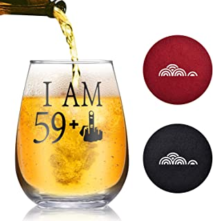 29 + One Middle Finger Stemless Wine Glass 30th Birthday Gift for Men Women Funny Turning 30 Bday Present Drinking Party Decoration, Holiday Gift for Wine Lovers (Black, Turning 60)