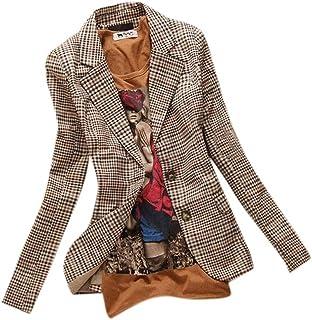 Allbebe Women`s Boyfriend Classic Slim Petite Plaid Elbow Patch Jacket Blazer