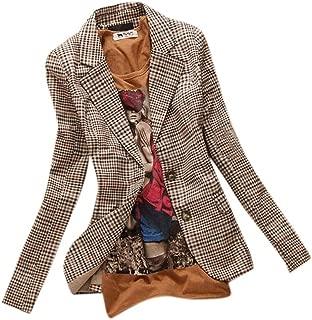 Allbebe Women's Boyfriend Classic Slim Petite Plaid Elbow Patch Jacket Blazer