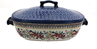 Blue Rose Polish Pottery Red Daisy Covered Baking Dish