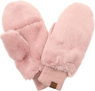 pink faux fur mittens