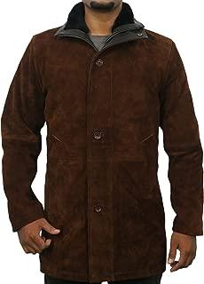 Laverapelle Men's Sheriff Walt (Robert Taylor) Cow Suede Leather Coat (Black, Officer Coat) - 1502774