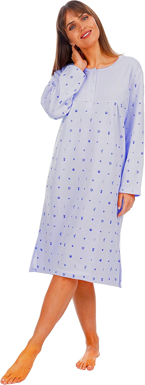 i-Smalls Women Fleece Rose Print Thermal Nightshirt with Lilac Eye Mask