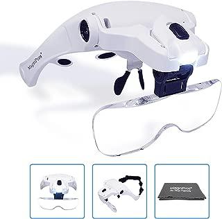 MagniPros LED Illuminated Headband Magnifier Visor with Bonus Cleaning Cloth and 5 Detachable...